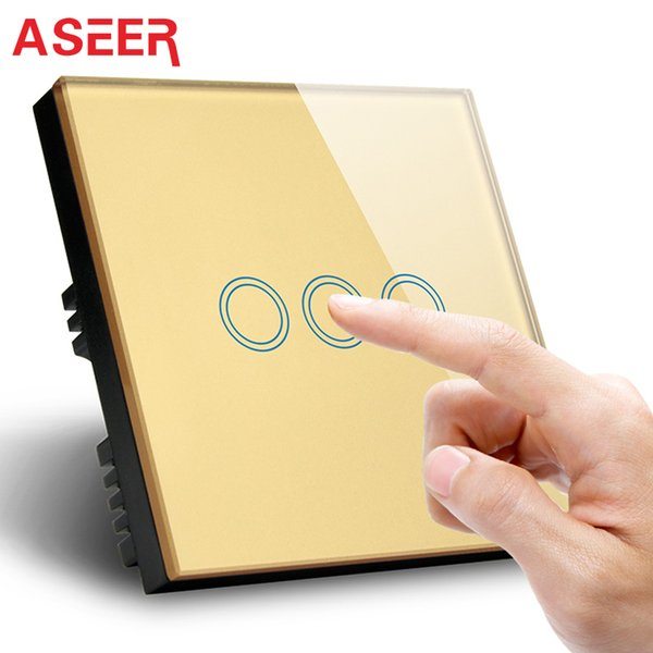 ASEER, electrodoméstico 3 Gang 1 way light touch switch 110-240V Eléctrico, Panel de cristal de color dorado interruptor led 1000W, CE, FCC