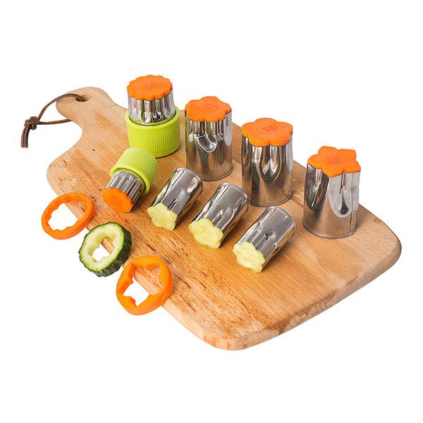 8pcs / Set En Acier Inoxydable Puzzle Fruits Légumes Cutter Cuisine Outils Moule Fleur Forme Cookie Fondant Moule Pâtisserie Moule Accessoires