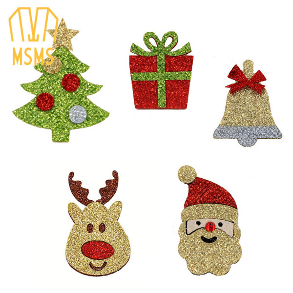 NEW Reindeer Red Nose -christmas tree-gift-bell-Santa Claus-falt back of Felt Applique for christmas Embellishment Crafts