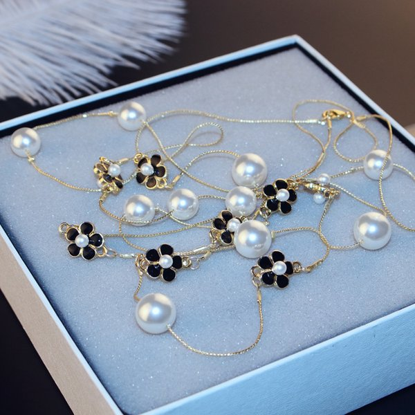 Agood high quality double layer long chain for women rose camellia pearls necklaces elegant party jewelry