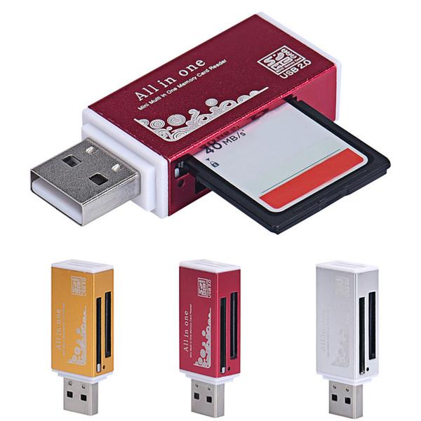 Tudo em um leitor de cartão de memória para o armazenamento externo do PC USB 2.0 Leitor de cartão para o entalhe do cartão do SD MMC do MS TF