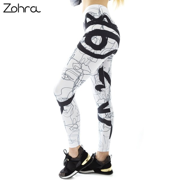 Zohra White Line Face Me Up Printing Fashion Women Leggings Sexy Workout Fitness Stretch Bottoms Elasticity Slim Pants