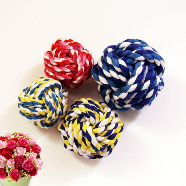 top popular Puppy Cotton Durable Braided Pets Chews Play Dog Chew Rope Pet Supplies Interesting Props Single Knot Toy High Quality 2019