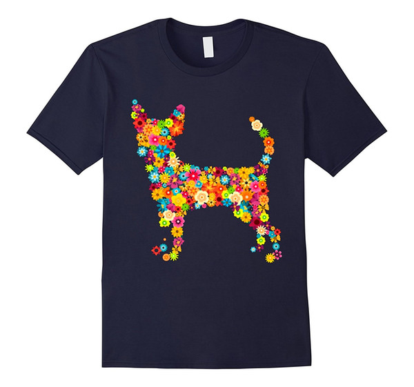 Chihuahua Dog Flower Tshirt For Dog Lover 100% Cotton Fashion T Shirts Top Tee 2018 Fresh Design Summer Good Quality