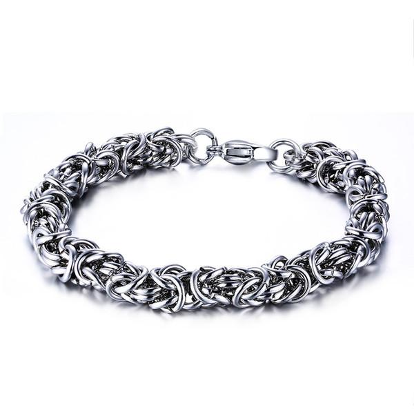 Hommes / Femme Bracelet Argent Couleur 316L En Acier Inoxydable Bracelet Bracelet Mâle Accessoire Hip Hop Party Rock Bijoux