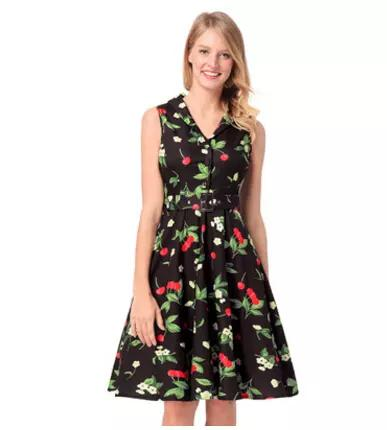 Las mujeres lindas se visten de cereza impreso OL Office Lady Tank Dresses impreso Floral camisa vestido envío gratis