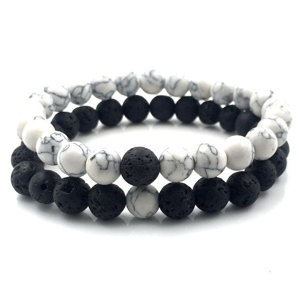 best selling 2pcs set 8mm White Howlite stone and Volcanic Rock Lava Stone Beads Bracelets set For Women Men Stretch Jewelry gift A18038