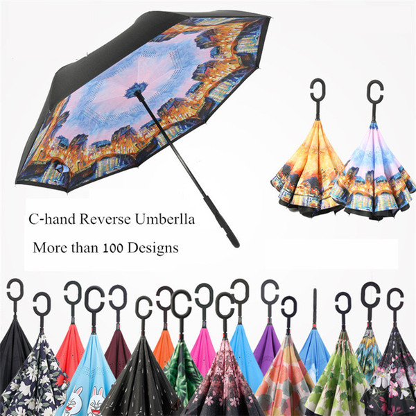 100 Designs New C-Hand Inversed Parapluies Windproof Reverse Double Couche Parapluie Inversé Inside Out Self Stand Parapluie Windproof en stock