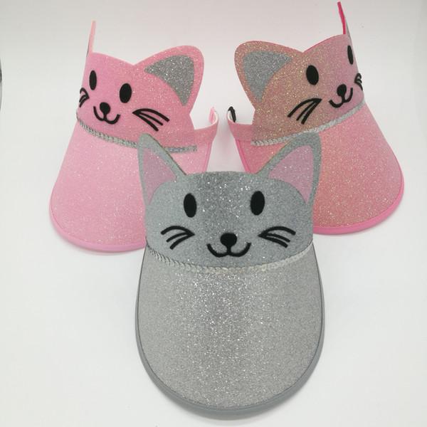 2018 Summer Kids Empty Sun Hat Cute Cat Rabbit Sequin Visors Caps Children Girls Lovely Cat Headbands