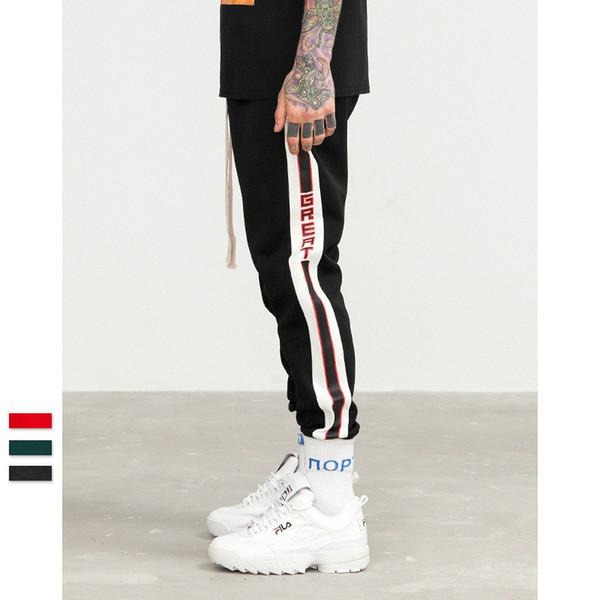 top popular 2018 New Fashion vintage college side striped Men's Sports Pants Male hip hop Trousers Mens Joggers Solid Pants Sweatpants 2019