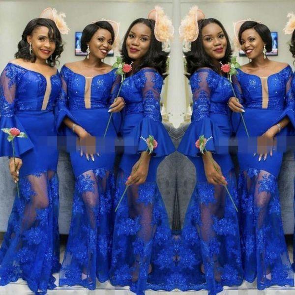 Royal Blue Vedere attraverso la damigella d'onore Abiti per la sposa Tromba maniche lunghe Mermaid abiti da damigella d'onore Custom Made Bridesmaid Dress Cheap
