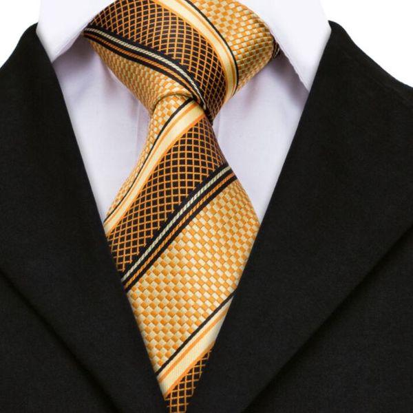 Laços de luxo para Mens Ouro Amarelo Listrado Jacquard De Seda Gravata Hanky Abotoaduras Set Laços De Casamento Negócio Para Homens