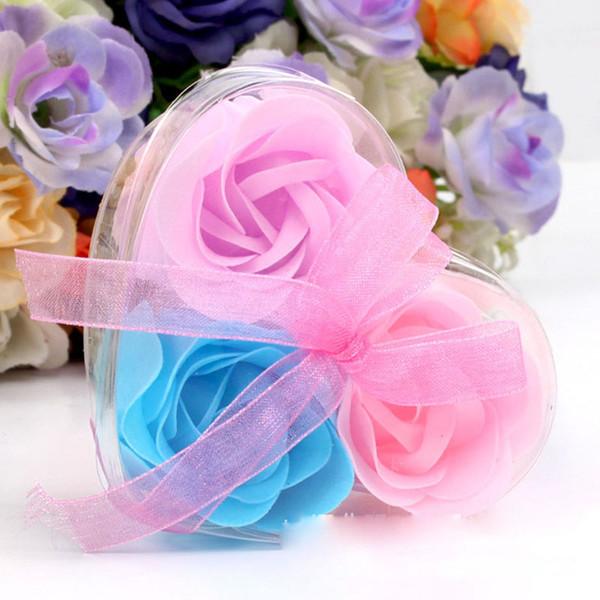 3 pezzi scatola di cuore a forma di sapone fatto a mano rosa sapone petalo fiore di carta di fiori di simulazione (3pcs = 1 scatola) regali di compleanno festa di san valentino