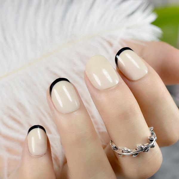 Süßigkeit Khaki Französisch gefälschte Nägel Tipps Kinder falsche Nägel kurze Größe künstliche Nagel DIY Nail Art Faux Ongles