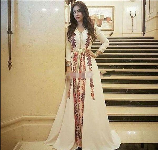 Neue Abendkleider Marokkanischer Kaftan Kaftan Erstaunliche Stickerei V-Ausschnitt Anlass Prom Formale Kleid Dubai Abaya Arabisch Langarm Prom Kleider