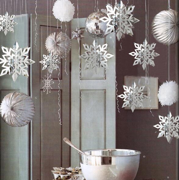 Guirlandas De Floco De Neve De Papel 3D Pendurado Ornamentos Decoração de Natal de Ano Novo Para Casa Congelada Fontes da Festa de Aniversário