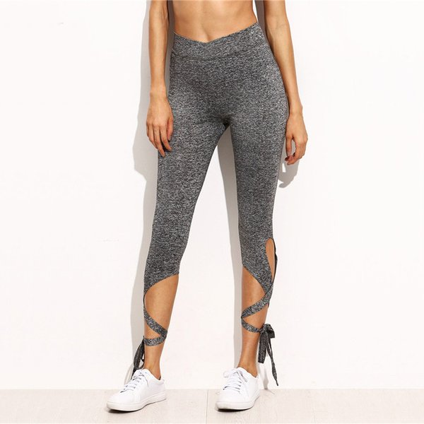 Women Pants Trousers For Ladies New Style Plain Light Grey High Waist Crisscross Tie Fitness Elastic Leggings