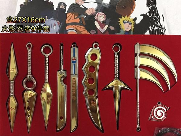 2 cores new Um Conjunto Espada de Brinquedo de Metal Naruto Kunai Faca Throwing Set Mini Naruto Arma Brinquedos Ninja Faca Naruto Cosplay Armas modelo MMA634