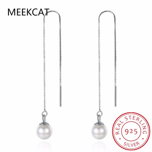 Lady's Authentic 925 Sterling Silver Jewelry Pull Through 6MM Round Pearl Cube Long Threader Dangle Earrings Geometric