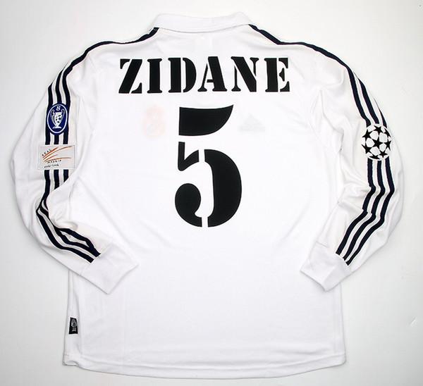 Retro Jersys Zidane Figo Raúl Hierro Makélélé Roberto Carlos McManaman Morientes 2002 Echt Madrid UCL Final Langarmhemd
