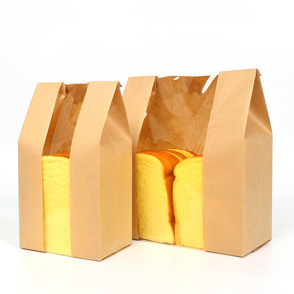 100 x Kraft Paper Bread Clear Avoid Oil Packing With Window Transparent Bag Food Package Cake Bag Wedding Party Decor