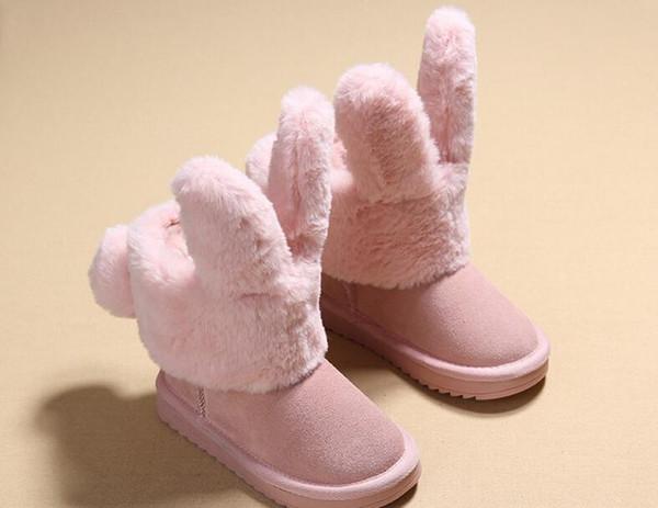 Children's boots 2018 winter snow girl cute rabbit plus velvet warm low tube boots thick cotton boots