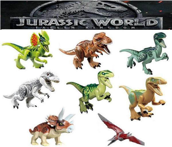 top popular Mini figures Jurassic Park Dinosaur blocks Velociraptor Tyrannosaurus Rex Building Blocks Sets Kids toy Bricks gift 2020