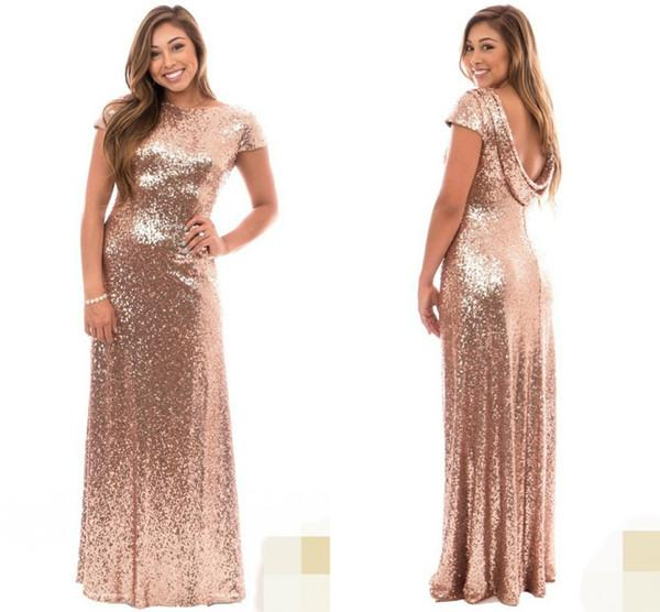 2018 Rose Gold Plus Size Long Bridesmaid Dresses with Short Sleeve Ruffles Open Back Wedding Guest Evening Gowns Maid of Honor Formal Wear