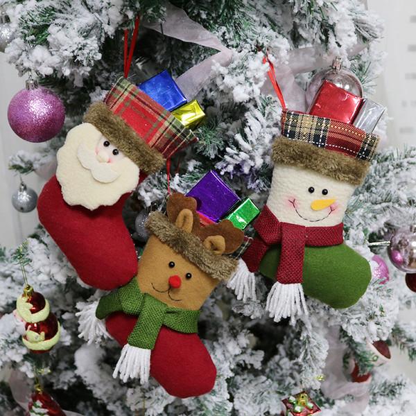 2018 nouveaux bas de noël sacs de bonbons bonhomme de neige wapiti cadeau du père noël sacs pour enfants arbre de Noël ornement suspendu décoration de noël