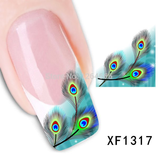 Art Decals 1PCS Stickers Manicure Watermark 3D Nail Design Cute Green Fearhers Tip Nail Art Stickers Decorations For Nails Water Decals