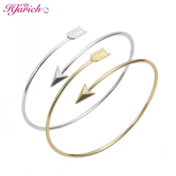 Wholesale- Hfarich Classic Adjustable Arrow Bracelets & Bangles for Women Gold Wrapped Arrow Wire Cuff Bangles Party Gift Female EY-G016