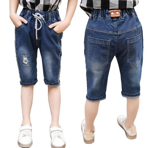 High Quality Baby Boys Jeans Shorts Elastic Waistband Summer Children's Clothing Kids Denim Shorts Pants For Boys Age 3-13 Years