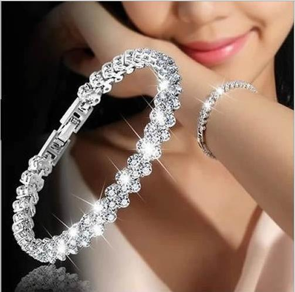 Europe and America lady Roman bracelet AAA zircon crystal bracelet fashion accessories ultra flash insert full diamond Charm Bracelets