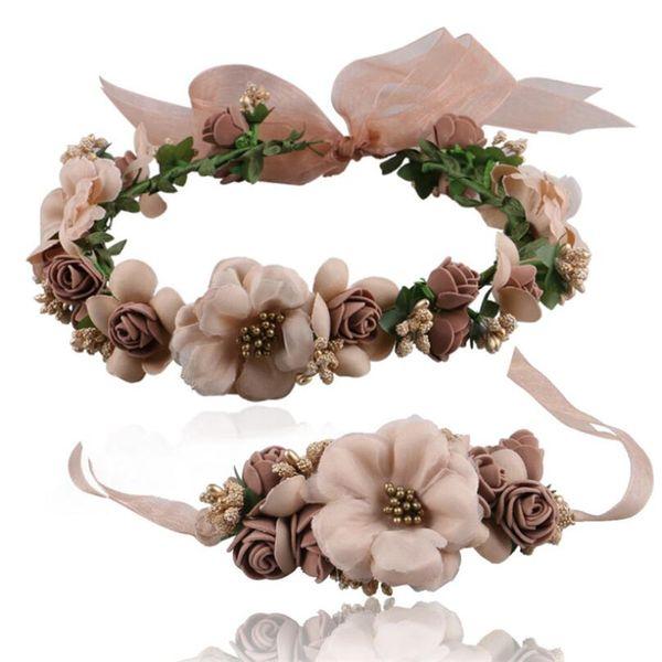 Wedding Bride's Flower Crown for children head ornaments Wreaths handwork artificial Flowers hair band for girls