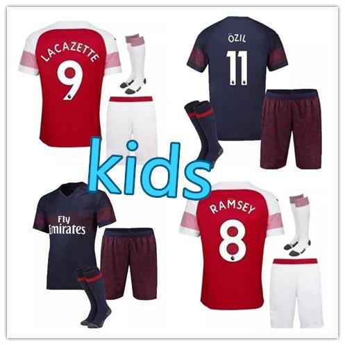 promo code 2fb40 072b0 Online Cheap 18 19 Arsenal Soccer Jersey Kids Kit 2018 2019 Lacazette  Mkhitaryan Xhaka Ramsey Wilshere Ozil Aubameyang Home Away Football Shirts  Sets ...