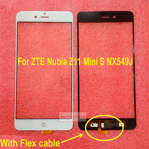Black White Outer Glass Front Screen Sensor Lens with flex cable for ZTE Nubia Z11 miniS Mini S NX549J Repair Replacement