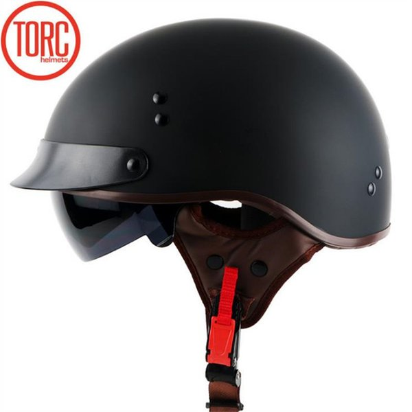 TORC T55 half face helmet DOT approved motorcycle helmet with internal sunglasses removable and washable lining for adults