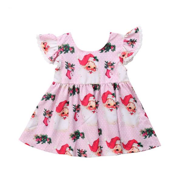 Bebê Meninas Rendas Dos Desenhos Animados Papai Noel Impresso Vestido de Moda Bebê Recém-nascido Meninas Voar Partido Da Luva Vestido Pageant Tutu Vestido A Linha de Vestidos