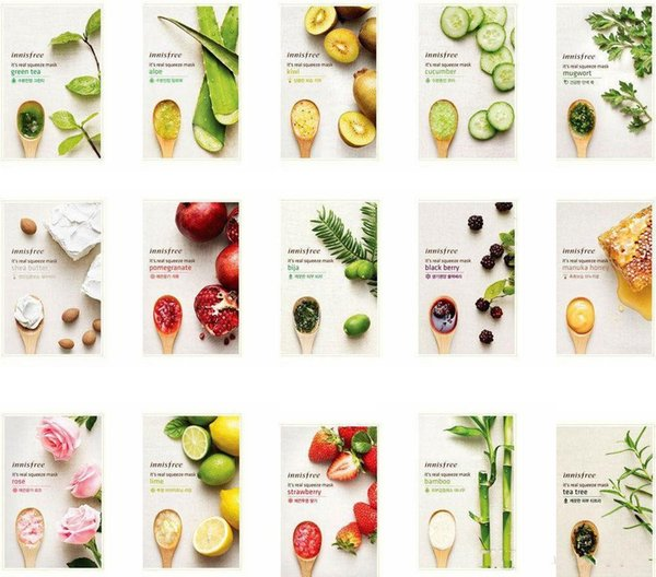 15 kinds INNISFREE Squeeze Mask Sheet Moisturising Face Skin Treatment Oil-control Facial Mask Peels Skin Care Pilate via Fedex DHL