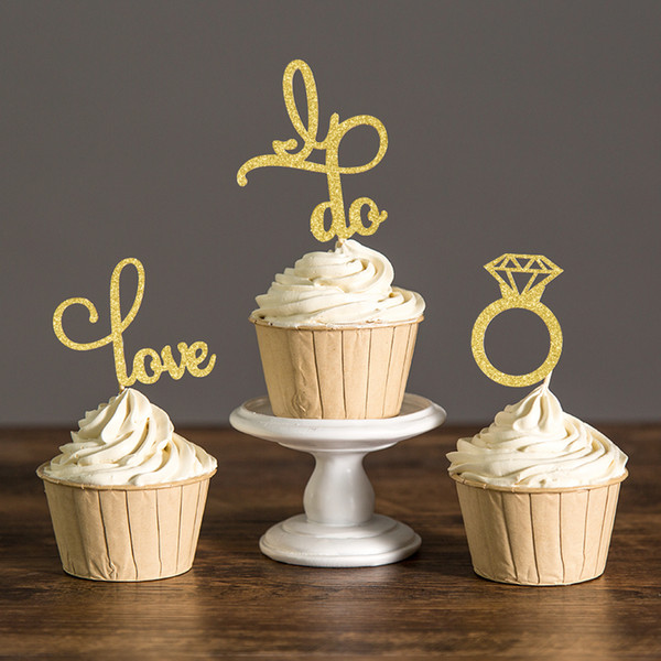 Gold/Silver or Black Glitter Engagement Cupcake Toppers Picks Bridal Shower/Valentine Day/Wedding Party Favors Cake Decorations