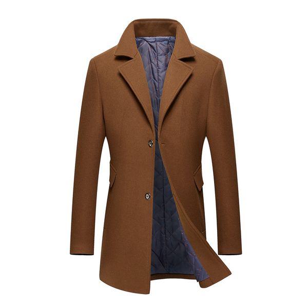 Herbst und Winter Pelz Mantel männlichen langen Wolle Wolltuch Mantel von mittleren Alters und jungen Männer Anzug Revers