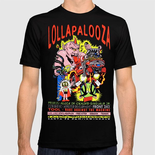 Lollapalooza Concert T shirt Tool RATM Fish Bone Primus Alice in Chains Official T-Shirt New ,T Shirt Top Tee, Mens 2018 New Tee,