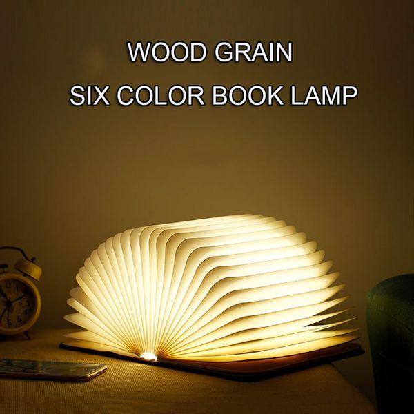 Le livre pliable en bois de veilleuse de LED a mené la lampe se pliante de livre de lumière de LED, lumière d'art, lumières décoratives, lampe magnétique de bureau / mur chauffent le blanc
