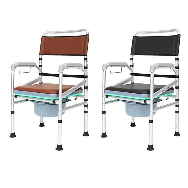 Aluminum Alloy Elders Patient Commode Chair Potty Chair Folding Anti-slip Toilet Bathroom Chair Elderly non-slip folding
