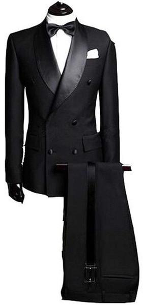 New Men's Suit 2 Pieces Formal Business Wedding Blazer Slim Fit Suit Double Breasted Blazer & Pant Black Gray Dark Brown