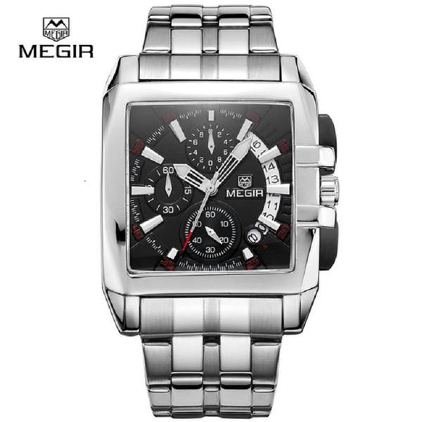 Megir yeni iş erkekler için kuvars saatler moda marka chronograph kol saati sıcak takvim ile takvim için takvim 2018