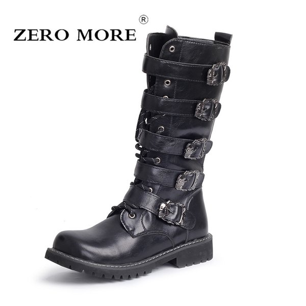 2019 ZERO MORE Army Boots Men High Military Combat Boots Metal Buckle Punk Mid Calf Male Motorcycle Boots Lace Up Men's Shoes Rock Sneakers