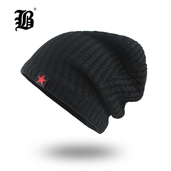 [FLB] Mens Skullies Winter Hat Beanies Knitted Cotto Hip Hop Stocking Hat Plus Velvet Rasta Cap Star Bonnet Hats For Men F18007