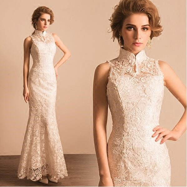 High Neck Wedding Dress Full Lace Floor Length Mermaid New Classic Design Bridal Gowns Woman Formal Party Dresses Custom Made