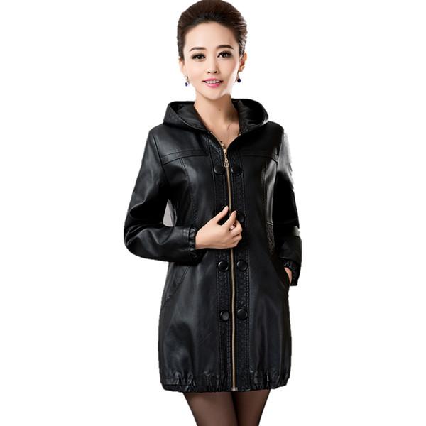 2017 primavera otoño mujeres más el tamaño de la chaqueta de cuero de la PU más el tamaño medio-largo delgado abrigo de cuero chaqueta de moda de imitación